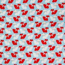 Blauwe katoen met vosjes