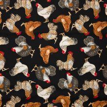 Zwarte katoen met kippen