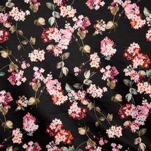 Zwarte gesatineerde polyester katoen elasthane met roze bloemen