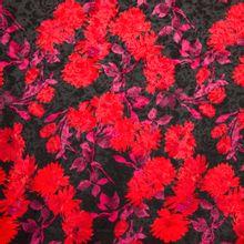 Zwarte gestructureerde polyester elasthane met rode bloemen