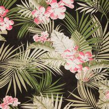 Zwarte polyester met bladeren en bloemen