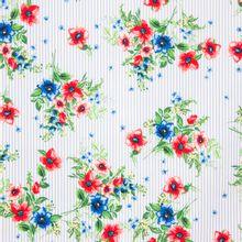 Witte katoen stretch met blauwe strepen en bloemen