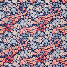 Blauwe katoen met bloemen