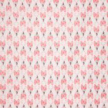 Witte katoen met roze gedecoreerde insecten