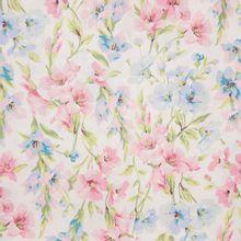 Witte gemerceriseerde katoen met roze en blauwe bloemen