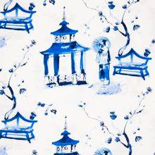 Witte katoen met Oosters geïnspireerde print 'Pagoda Garden'