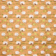 Bruine katoen met olifantjes