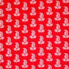 Rode katoen met wit motief