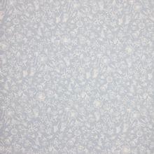 Blauwe linnen katoen mengeling met witte bloemen