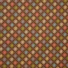 Bruine katoen met multicolor motief