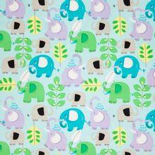 Blauwe katoen met olifanten