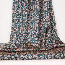 Turquoise polyester met bloemenpatroon van La Maison Victor