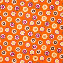 Oranje katoen met bloemen