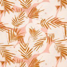 Wit/roze viscose met camel bladeren canopy ochre