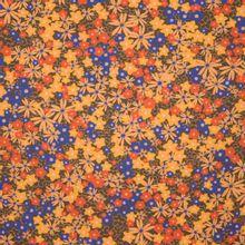 Bruine viscose met gele, oranje en blauwe bloemen