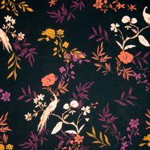 Lichte polyestertricot met bloemen en vogels