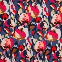 Viscose met abstract patroon in verschillende kleuren