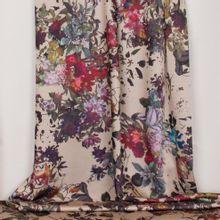 Nude licht rekbare polyester met multicolor bloemenmotief van 'Miss Doodle'