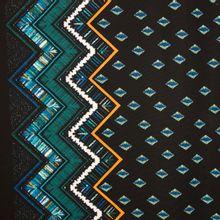 Zwarte rekbare polyester met abstract motief van 'My Image'