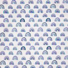 Witte katoen met blauwe regenbogen