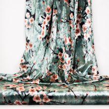 Turquoise fluweel polyester met bloemen