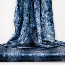 Blauwe/witte soepelvallende fluweel polyester
