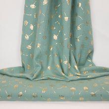 Turquoise double gauze met gouden bloemen