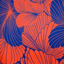 Polyester met oranje en blauw bloemenmotief van Fibre Mood