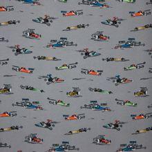 Grijze sweaterstof met racewagens van Poppy