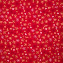 Rode katoen met ijskristallen in gouden glitter, grijs en wit