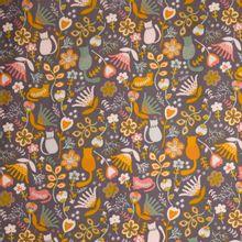 Grijze katoenen ribfluweel met poezen en bloemenmotief van Poppy