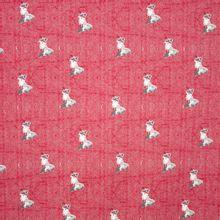 Sweaterstof in rood visgraadmotief met vosjes