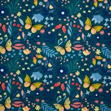 Petrolkleurige french terry met bloemen en vlinders