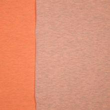 Neonoranje sweaterstof met fijne grijze streepjes - 'Neon sweat' van Poppy