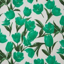 Witte stretchkatoen met tulpen in donkergroen uit 'Stitched By You' en 'My Image'