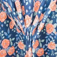 Jeanslook tricot met bloemen