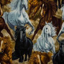 Bruine katoen met paarden