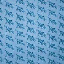 Blauwe tricot met sprinkhanen motief