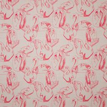 Ecru tricot met print van rode zwanen