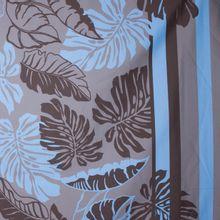 Licht rekbaar katoenen paneel met tropisch blad motief en strepen
