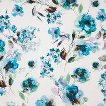 Witte Italiaanse piqué katoen met bloemen bedrukking