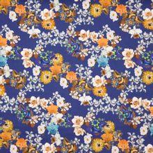 Blauwe Italiaanse piqué katoen met bloemen bedrukking