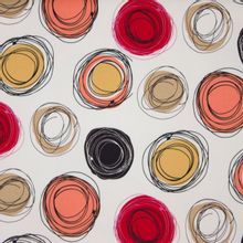 Witte Italiaanse piqué katoen met abstracte cirkels