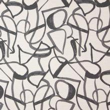 Gemeleerde polyester jacquard met abstract lijnenmotief in ecru en grijs