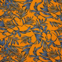 Oranje Polyester Crêpe Met Bladeren