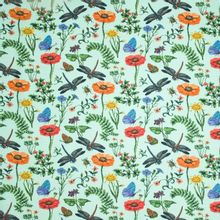 Munt tricot met planten en insecten motief van 'Megan Blue Fabrics'