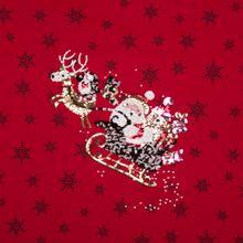 Rood tricotpaneel met kerstmotief in pailletten