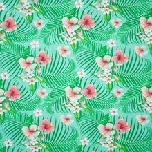 Munt tricot met bloemen en bladeren van 'Megan Blue Fabrics'