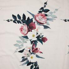 Witte stretchkatoen met grote bloemenprint