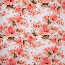 Roze Katoen Tricot met Bloemen